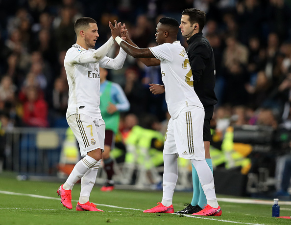 Hazard og Vinicius Junior.