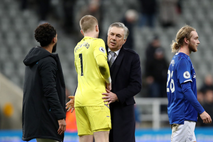Pickford og Ancelotti.